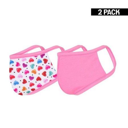 Meisjes 2-Pack Mondkapjes Hearts/Felroze 4-9 jaar & 10-16 jaar